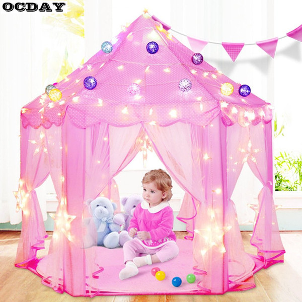 Folding Tipi Children Tent Play House Lovely Girls Princess Castle Outdoor Indoor Playhouse Waterproof Toy Tents For Kids Gifts