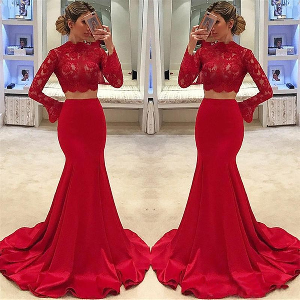 Red Two Piece Evening Dresses 2018 Cheap Long Sleeves High Neck Mermaid Lace Appliques Satin Formal Prom Party Gowns Arabic Dubai Vestidos