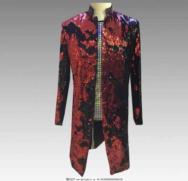 Sparkly Sequins Casual Slim Men's Jacket Nightclub Stage Host Outfit Men Singer DJ DS Show Long Jacket Magician Show Outfit Coat