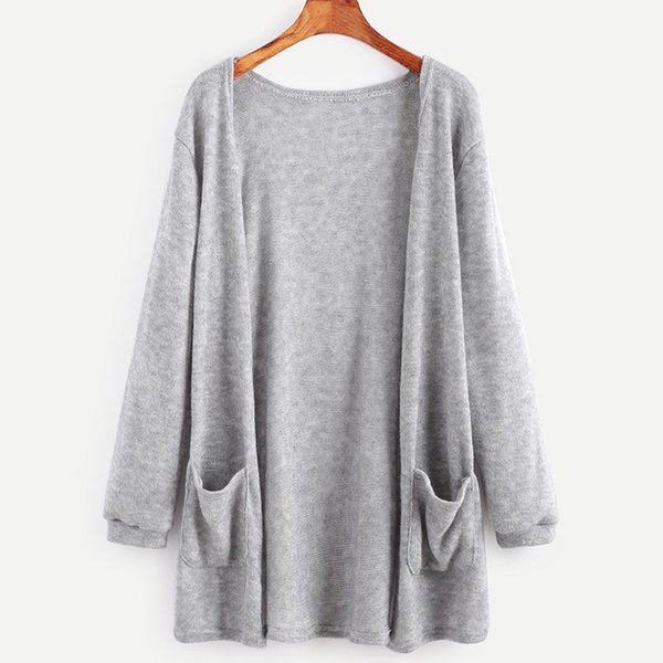 New Spring Autumn Ladies Loose Sweater Jacket Women Cardigan Knitwear Coat Black Gray Sweater Outerwear Pocket