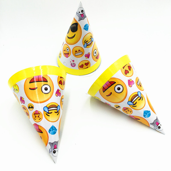 6pcs Lot Emoji Theme Party Hats Baby Shower Disposable Tableware Printed Paper Kids