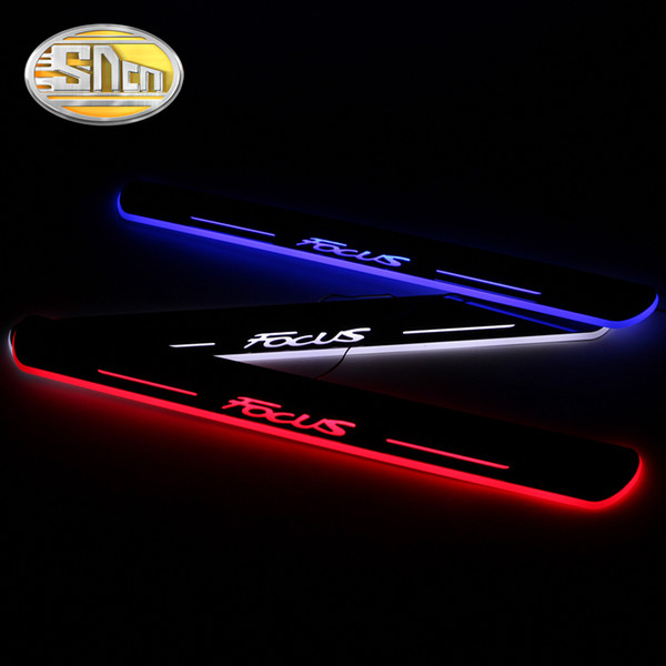 SNCN Waterproof Acrylic Moving LED Welcome Pedal Scuff Plate Pedal Door Sill Pathway Light For Ford Focus 2012 - 2016