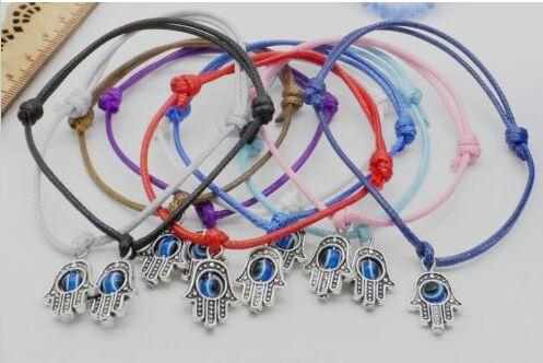 100pcs/lot Lucky String Hamsa Hand Evil Eye Charms Lucky Red wax Cord Adjustable Bracelet DIY Jewelry NEW