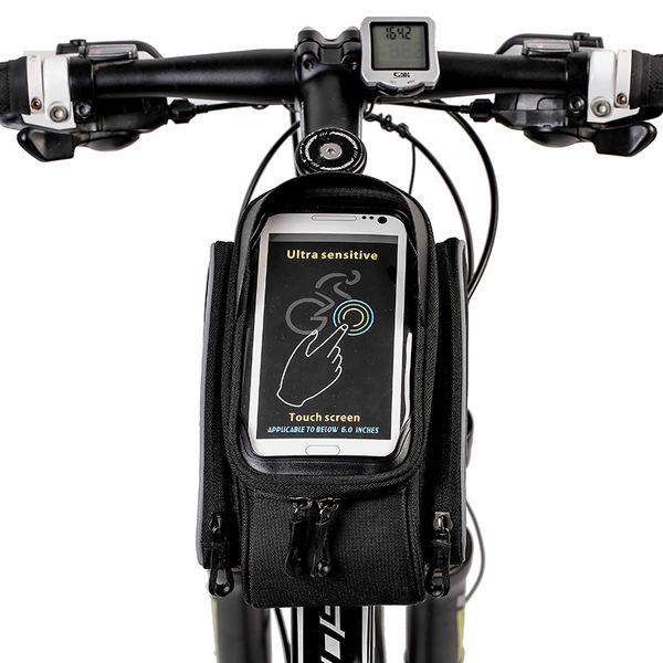 "MTB Mountain Bike Bag Accessories Bicycle Saddle Bag Touchscreen Cycling Frame Bag Pannier Sacoche Velo For 5.8"" Phone"
