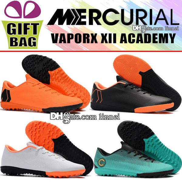 Nuevos zapatos de fútbol para hombre bajos Cristiano Ronaldo Botas de fútbol para interiores Mercurial VaporX XII Academy IC Fútbol de fútbol con botines Mercurial CR7 para botas