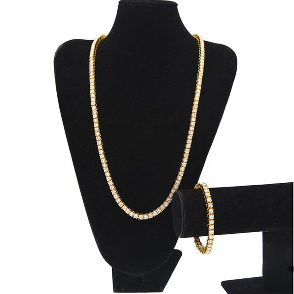 Men's Iced out Chains Jewelry set 1 Row Bling Bling White Black Rhinestone Long Tennis Necklaces bracelet For women Hip Hop Jewelry