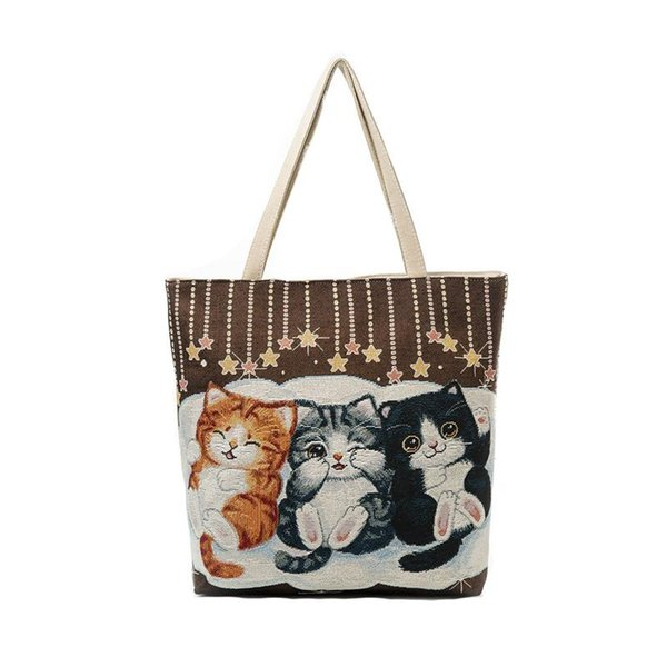 Fashion handbag Women Girls Cat Printed Canvas Tote Casual Beach Bags Women Daily Use Shopping Bag Handbags
