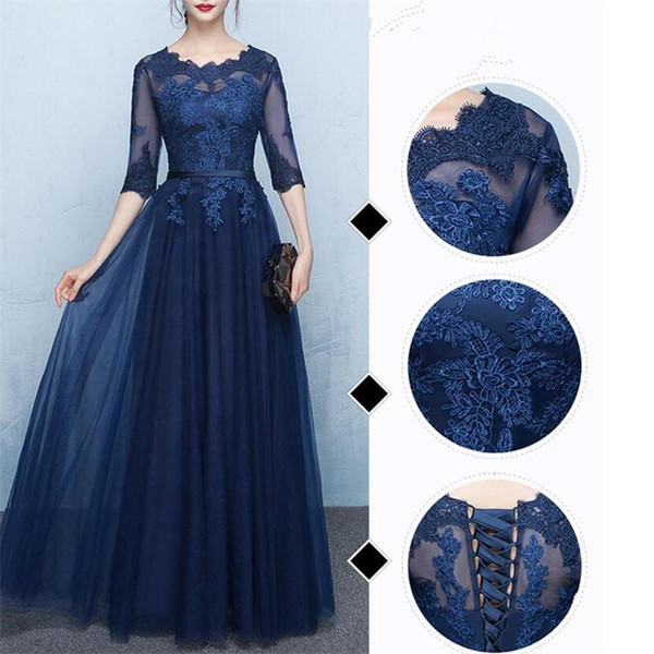Elegant Navy Blue Mother of the Bride Dresses Half Sleeves Sheer with Applique Lace-up bridesmaid dresses Floor Length Mother's Gowns Cheap