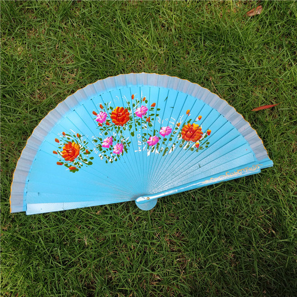Single Side Hand Painted Fan Craft Wedding Party Favor Retro Dance Photographic Props Wood Folding Fans Designer 9 9sz Ww