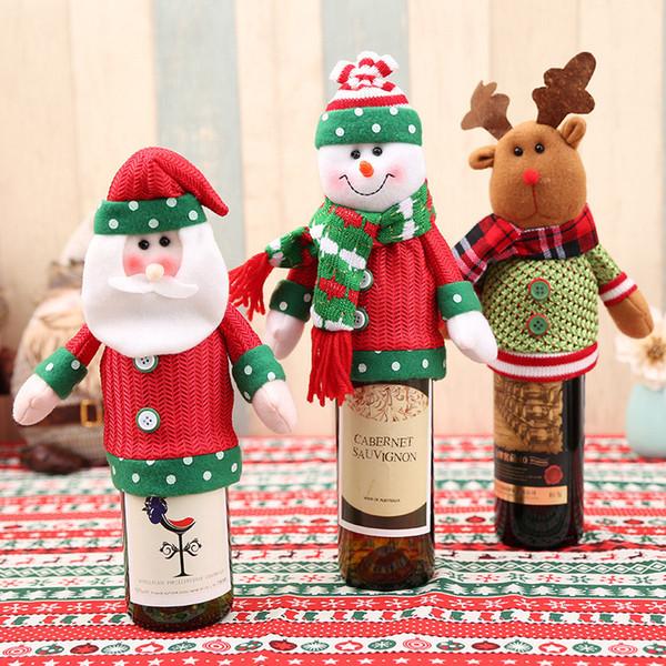 Mutlu Yeni Yıl için 1 ADET Noel Süslemeleri Ev Noel Baba Şarap Şişesi Kapağı Kardan Adam Stocking Hediye Sahipleri Xmas Hediye Dekor