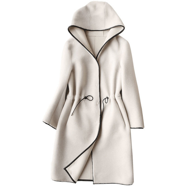 Real Fur Coat Sheep Shearing Fur Lamb Fur Coats 2018 Winter Coat Women Wool Jacket Hooded Tops PU Lining Long Korean Tops ZT254 Y18103101