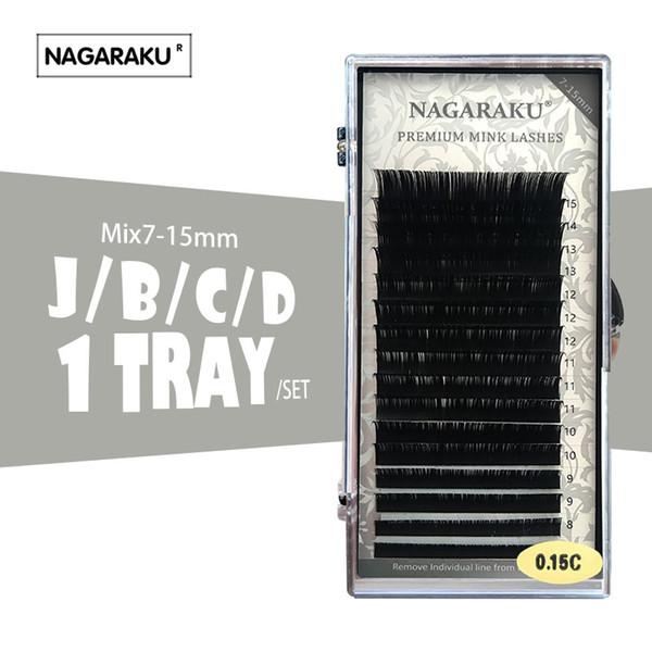 NAGARAKU 16rows/case 7 15mm mix in one tray Faux individual eyelash extension synthetic individual eyelash extension cilia lash