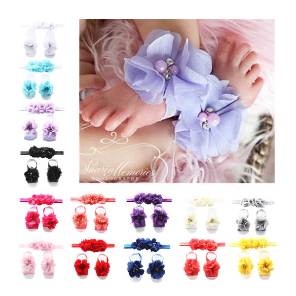 Baby Sandals Rhinestone Flower Shoes Cover Barefoot Foot Flower Ties Infant Girl Kids First Walker Shoes Headband Set Photography Props