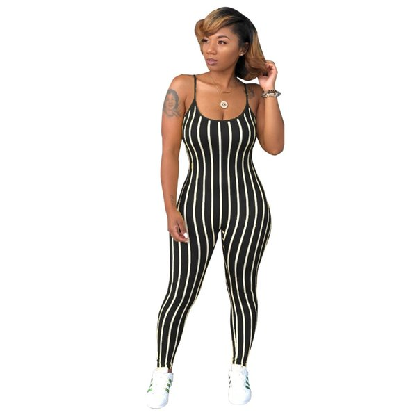 Casual Striped Women Jumpsuits 2018 Fashion Summer Rompers Spaghetti Strap O-neck Full-length Pants Fitness Sexy Overalls PV145