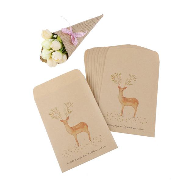 10 Teile / los Briefpapier Kraftpapier Nette Gemalte Hirsch Brieftasche Umschlag Für Geschenk / Liebesbrief / lassen Eine Anmerkung Party Favor Geschenktüte