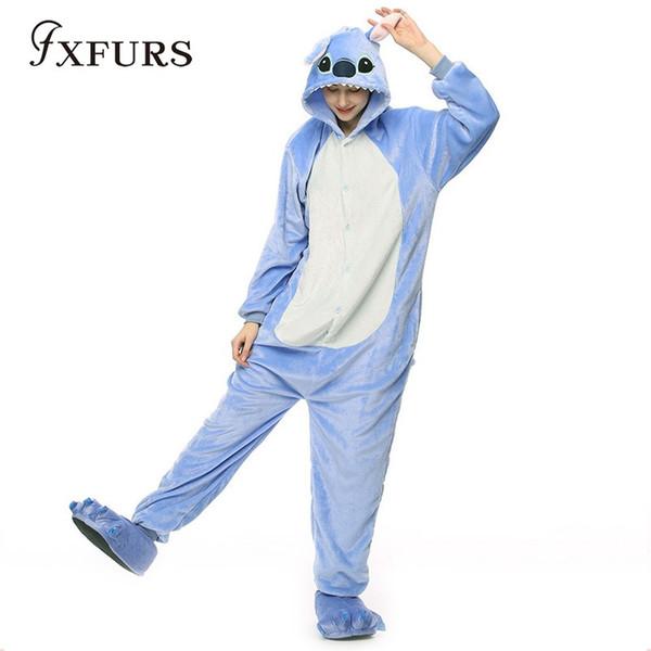 ca4044d6d8b7 2018 Wholesale Adult Pajamas Cosplay Cartoon Animal Onesies Sleepwear  Christmas Halloween Costume Blue Stitch Home Dress