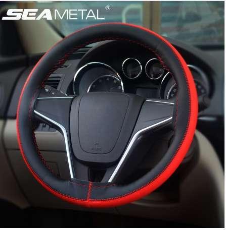 Couverture de volant de voiture en cuir tressé en cuir Micro Fiber 38 cm DIY couvre-volant aiguilles universelles filetage automatique dans les accessoires