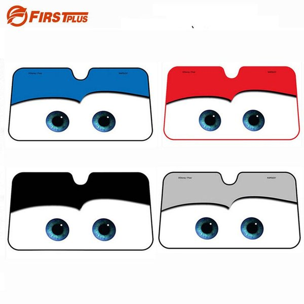 Cartoon Eyes Car Cover Windshield Visor Shade Thicken Aluminum Foil Window Blinds UV-Protection Windscreen Covers Summer Styling