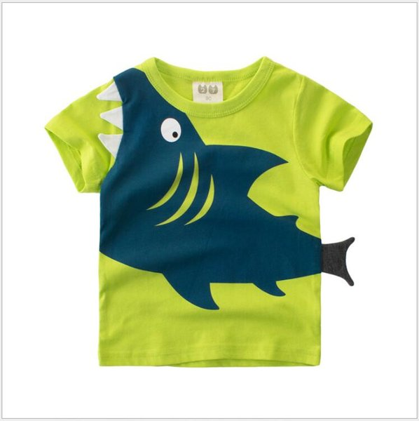 1-8Y Kids Boys T-shirt New Shark Baby Tops Summer Toddler Clothing Baby Cotton Tops Fashion T-shirt Cute Children Play Clothes