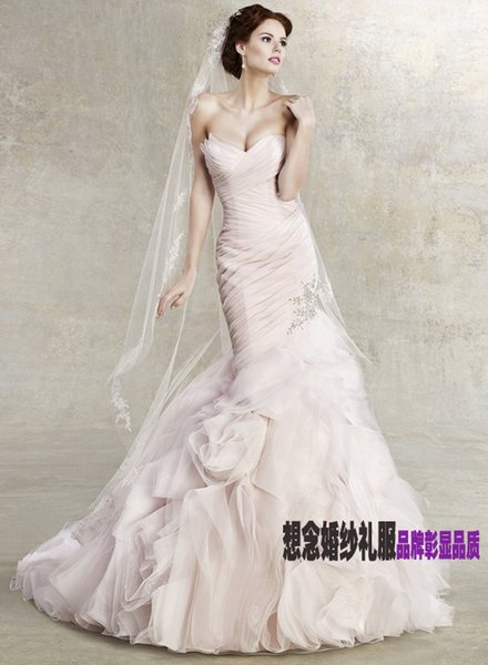 free shipping 2018 womans design fish tail new fashion brides white long pink organza Mermaid wedding dresses bridal formal gown