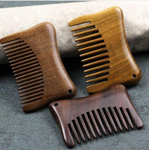 1pcs Pockets Wooden Comb Natural Sandalwood Anti-static Super Wide Tooth Beard Combs Small Hair Brush Hairstyling Massage Care
