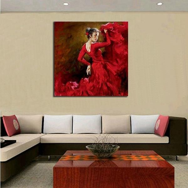Красивые Цвета На Стене Танцор Картины Маслом Ручной Работы Аннотация Испанская Леди Танцор Картины Маслом На Холсте