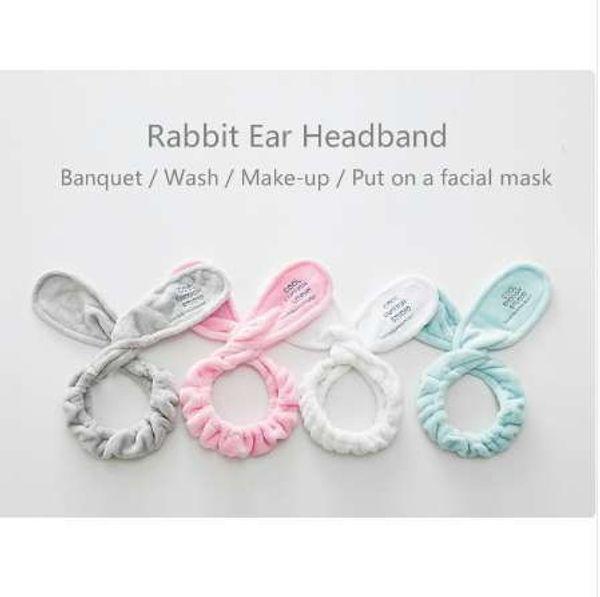 Belle donne ragazze fascia per capelli lavare viso bagno spa make up avvolgere copricapo orecchie di coniglio fascia morbida asciugamano elastico accessori per capelli