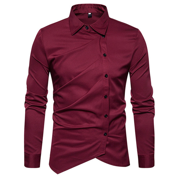 Novelty Button Men Blouse Gentleman Tuxedo Style Tops Wedding Party Shirts 2018 Hot Sale Male Slim Office Shirt Fashion Big Size Blusa