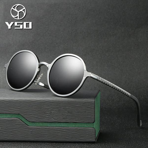 YSO Sunglasses Men Polarized UV400 Aluminium Magnesium Frame TAC Lens Sun Glasses Driving Glasses Round Accessory For Men 8552