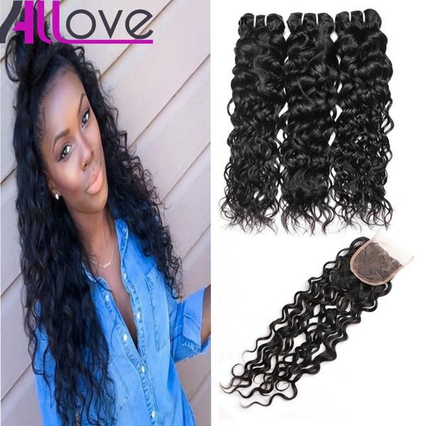"8-28"" Water Wave 3 Bundles with Closure 8A Brazilian Virgin Hair Peruvian Water Wave Malaysian Ocean Wave Indian Wet and Wavy Human Hair"