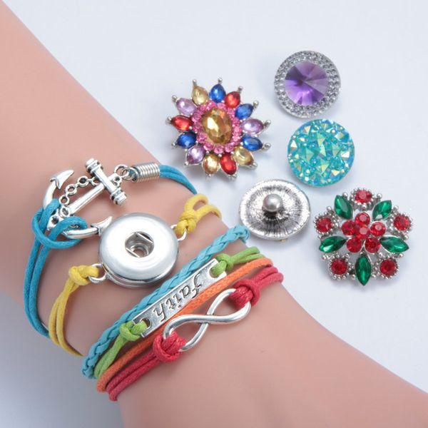 2017 NEW Noosa Bracelets Metal Interchangeable Button Jewelry DIY Infinity Leather Wrap Bracelet Snap Charms Fashion Jewelry 19 Styles
