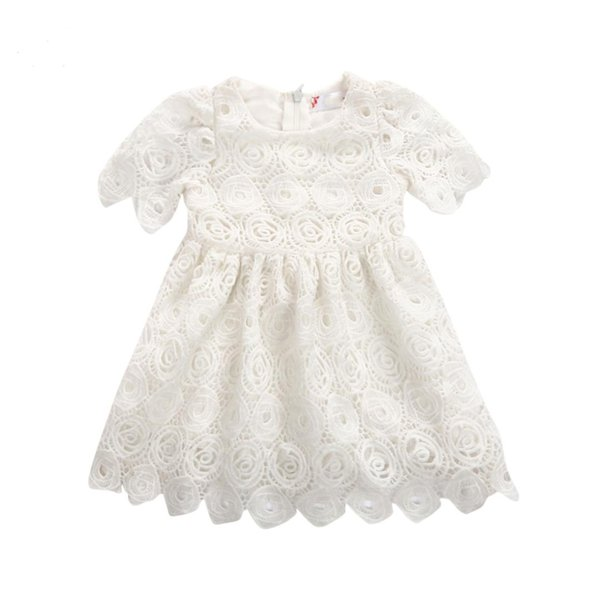 2018 Brand New Newborn Toddler Infant Baby Girls Shortsleeve Floral Tutu Dress Party Wedding Princess Lace Dresses Summer Outfit