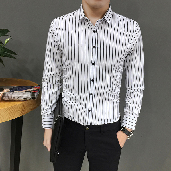 Mens White Casual Shirts Long Sleeve Down Clearance Square Collar Striped Shirts For Men High Collar Big And Tall Large Size