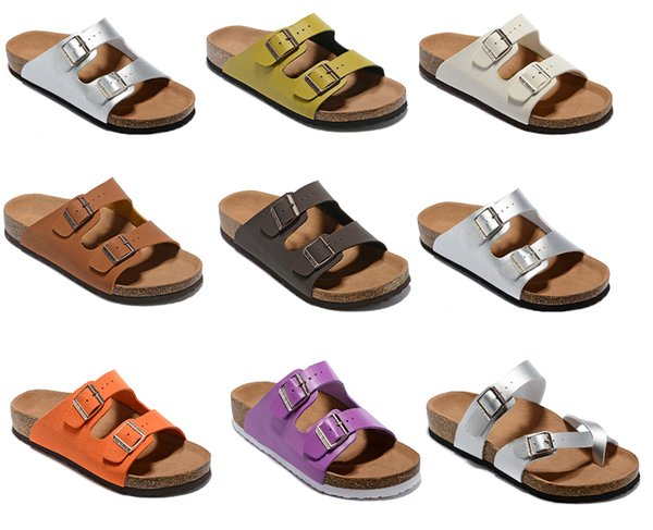 Berühmte nagelneuen stil der Frau Flache Sandalen Komfortable Lässige zwei Schnalle original Arizona Sommer Strand Echtes Leder Slipper