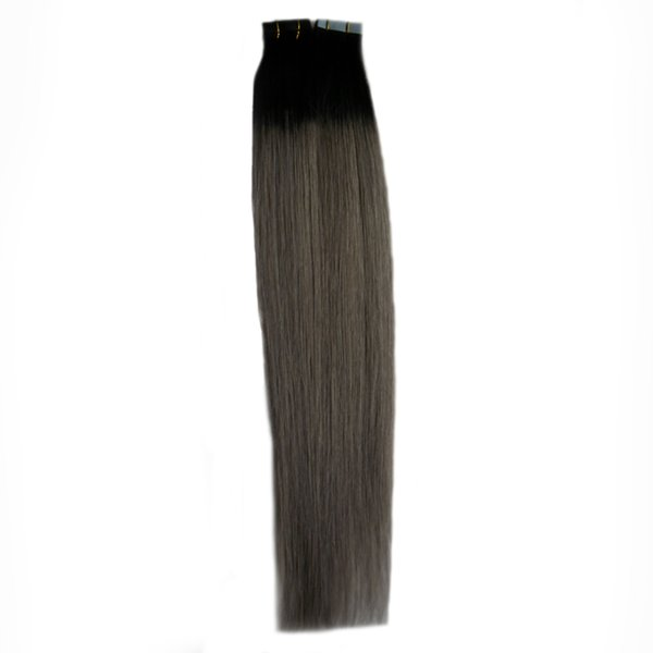 1B grey Color tape in human hair extensions 100G Brazilian Straight Hair 40Piece PU Ombre Skin Weft tape hair T1B/grey