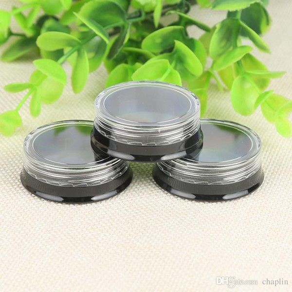 3G Make Up Plastic Jars Black Base Nail Art Cosmetic Lip Balm Lip Gloss Cream Lotion Eyeshadow Containers with Screw Clear Lids 3ML