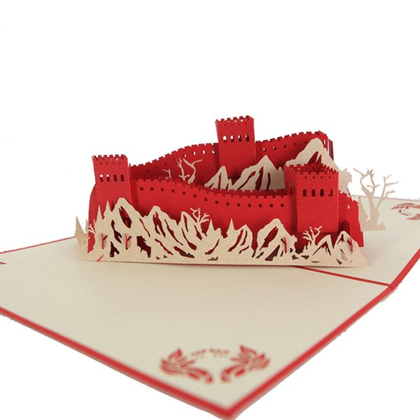 3D Laser Cut Handmade Carving Chinese The Great Wall Paper Invitation Greeting Cards PostCard Business Party Kids Creative Gift