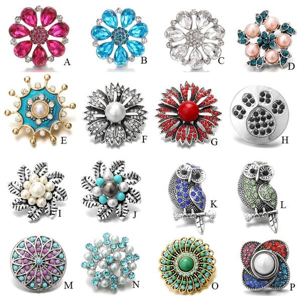 Noosa 18mm Yapış Düğmeler Takı Büyük Çiçek Takılar Kristal Topakları Düğmeler fit Erkekler Kadınlar için DIY Zencefil Çırpıda Bilezik ...