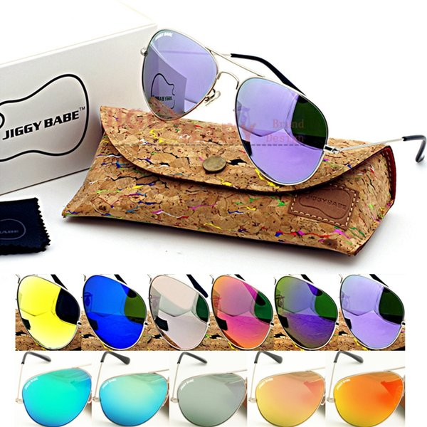 Top Brand Name Sunglasses Large Metal Retro Vintage with Box Case for Mens Women Colored Glass Mirrored UV400 Lens High Quality Gafas Desol