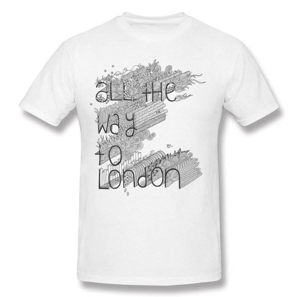 Popüler Erkekler Yüzde Pamuk Londra Tee-Gömlek Erkekler Ekip Boyun Beyaz Kısa Kollu T-Shirt Büyük Boy Komik Tee-Shirt