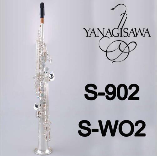 YANAGISAWA S-WO2 S-902 Soprano B (B) Tubo Em Linha reta Saxofone Da Qualidade Da Marca de Bronze Banhado A Prata Instrumentos Com Bocal Caso