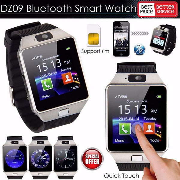 DZ09 Bluetooth Smart Watch Phone Mate GSM SIM For Android iPhone Samsung HTC LG Huawei Cell phone 1.56 inch Free DHL smartwatches