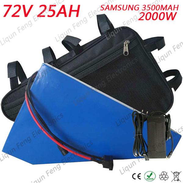 Freies Zoll-2000W 72V 25AH Lithium-Batterie 72V 25AH Dreieck-Batterie-freie Tasche Gebrauch Samsungs 3500MAH Zelle 50A BMS 2A Aufladeeinheit