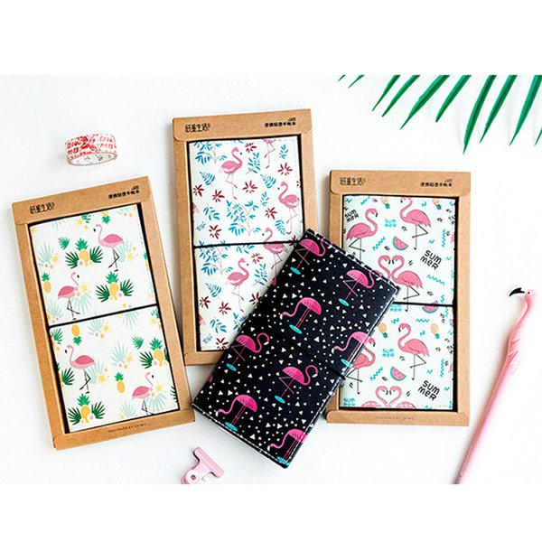 PU Leather Strolling Flamingo Cover Planner Notebook Diary Book Exercise Composition Binding Note School Stationery