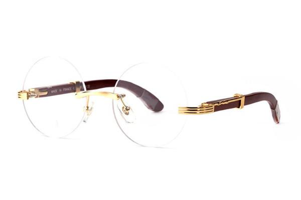 Luxury Rimless Wooden Sunglasses Designer Vintage Round Buffalo Horn Glasses Men Women Sun glasses Lenses Golden Frame Brand Sunglasses Box