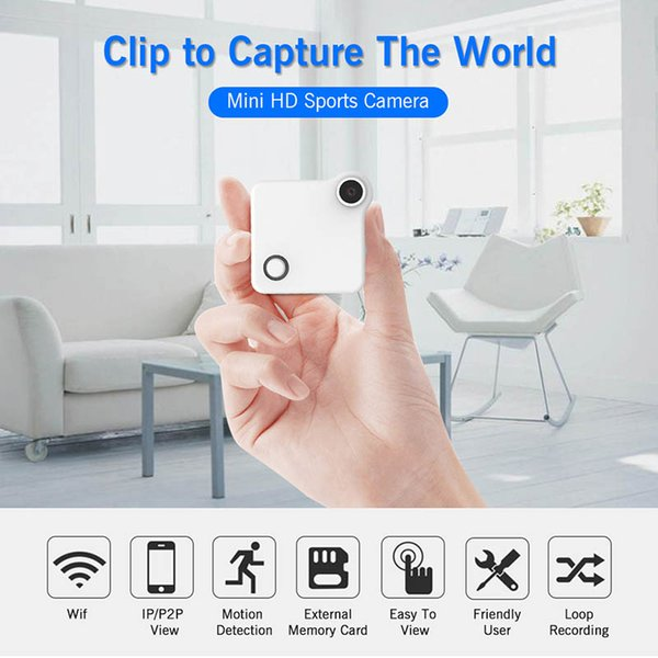 C1 mini cámara web WIFI del IP del P2P de vídeo DV Grabadora de sonidos multi portable de HD 720P H.264 Micro Acción flexible de detección de movimiento DVR