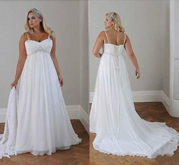 Discount Modest Plus Size Wedding Dresses Beach Wedding Chiffon A Line  Floor Length Spaghetti Straps Lace Up Back Simple Elegant Boho Bridal Gowns  A ...