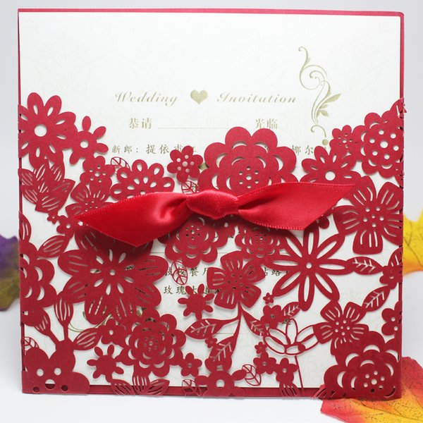 2018 Hot Sale Pocket Laser Cut Wedding Invitation Card Luxury Red Envelope Printable Insert Chinese Handmade With Free Ribbons knot