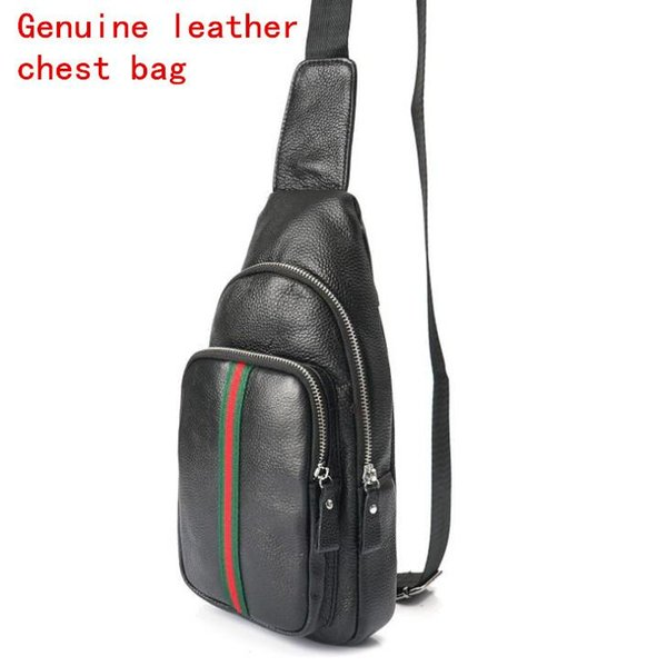 Factory independent brand men Baotou layer leather sport riding bag fashion impact color leather chest bag college wind real leather casual