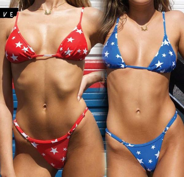 Women's Bikini Print Pentagram Swimwear Popular New Sexy Split Halter Belt Chest Pad Swimwear Wholesale Sale